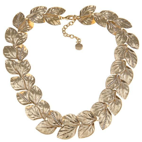 Carolee CZ 17-inch Leaf Collar Necklace