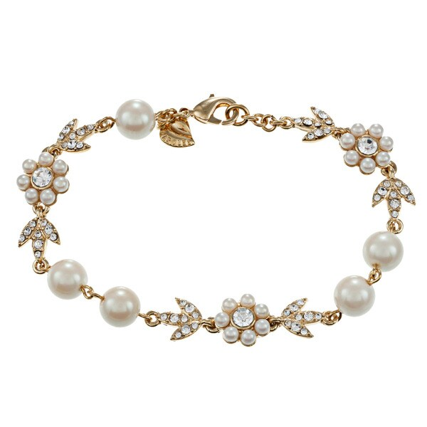 Carolee Faux Pearl and CZ Floral Link Bracelet