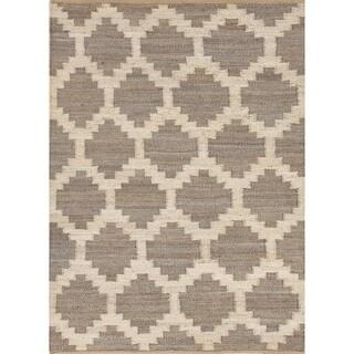 Flat Weave Moroccan Beige/ Brown Hemp/ Jute Rug (4' x 6')