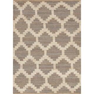Flat Weave Moroccan Beige/ Brown Hemp/ Jute Rug (8' x 10')