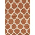Flat Weave Moroccan Red/ Orange Hemp/ Jute Rug (8' x 10')