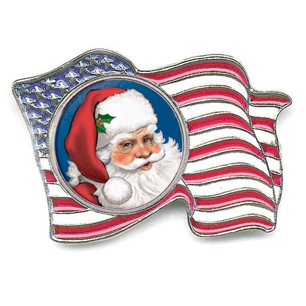 American Coin Treasures Silvertone Santa Quarter American Flag Pin