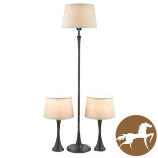 Christopher Knight Home Black Floor Lamp and Table Lamp Set