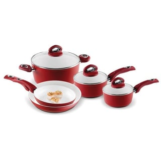 Bialetti 8-Piece Aeternum Red Ceramic Non-Stick Cookware Set