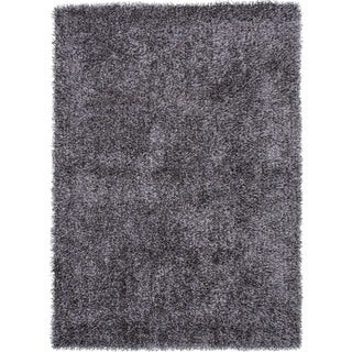 Gray/Black Solid Shag Area Rug (9' x 13')