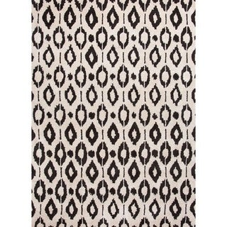 Modern White/Black Geometric Wool/Silk Tufted Rug (8' x 11')