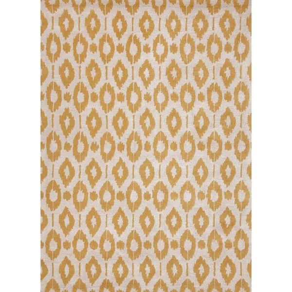 Orange Modern Geometric Wool/Silk Tufted Rug (5' x 8')