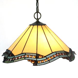 Amora Lighting Tiffany Style 'Citrine' Hanging Lamp