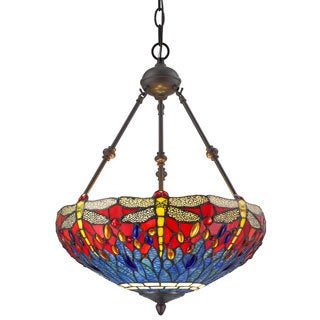 Amora Lighting Tiffany Style Dragonfly 3-light Hanging Lamp