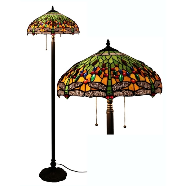 Tiffany style green yellow dragonfly floor lamp for Overstock tiffany floor lamp