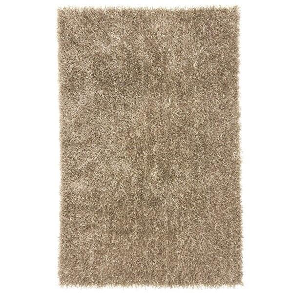 Beige/ Brown Solid Shag Rug (9' x 13')