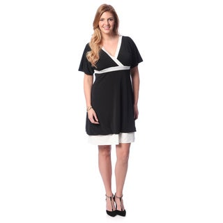 Evanese Women's Plus Size Two-tone Bubble-hem Dress