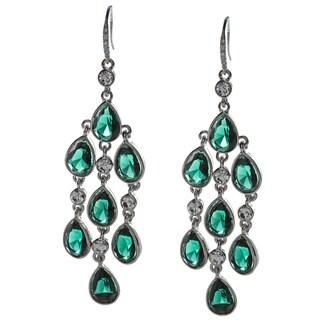ABS by Allen Schwartz Emerald CZ Teardrop Chandelier Earrings