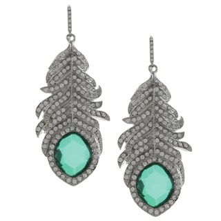 ABS by Allen Schwartz CZ Pave Feather Dangle Earrings