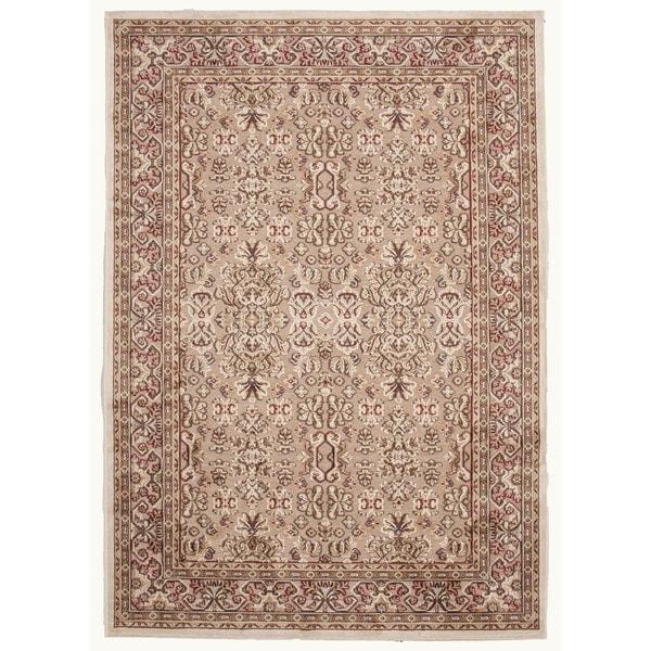 "Traditional Beige/Brown Viscose/Chenille Oriental Rug (7'6"" x 9'6"")"