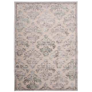 Transitional Ivory/ White Viscose/ Chenille Rug (5' x 7'6)