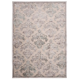 Transitional Ivory/ White Viscose/ Chenille Rug (7'6 x 9'6)