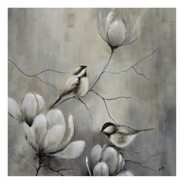Nathalie Viens 'Oiseau I' Hand Painted Canvas