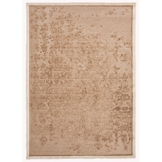 Modern Abstract Viscose/Chenille Rug in Beige (7'6