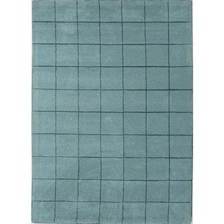 Aqua Sea Modern Geometric Wool/Silk Tufted Rug (5' x 8')