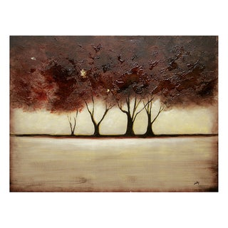Nathalie Viens 'Ruby Forest' Hand Painted Canvas