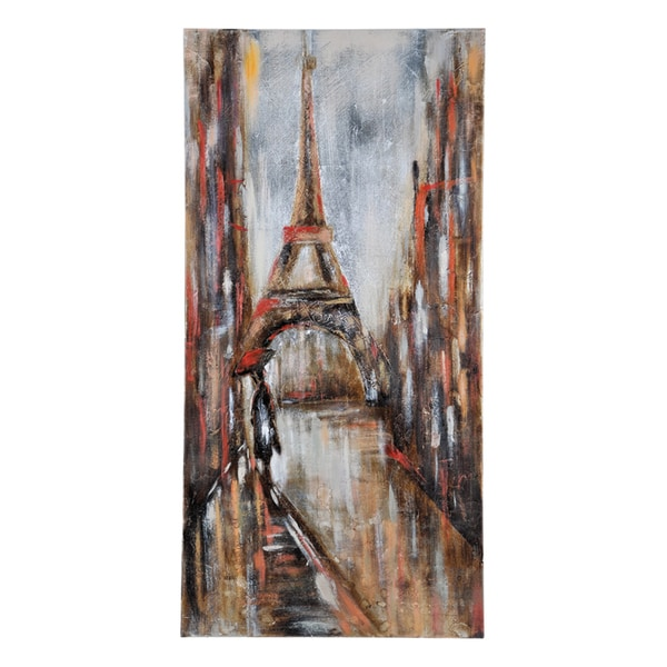 Giovanni Russo 'Keeping Dry in Paris II' Hand Painted Canvas