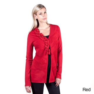 Colour Works Women's Red Ottoman Stitch Ruffle Detail Cardigan