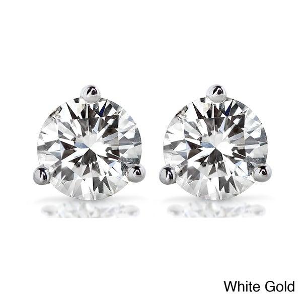 Annello 14k Gold Round-cut Moissanite Stud Earrings