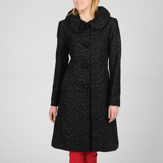 Ivanka Trump Women's Rouche Collar Jacquard Coat