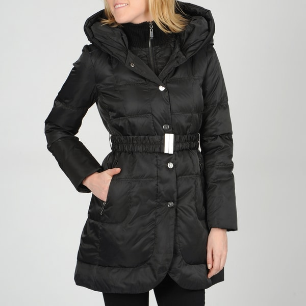 Ivanka Trump Women's Black XL Belted Down Fill Coat