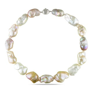 Miadora Sterling Silver Pink Keshi Cultured Freshwater Pearl Necklace (13-18 mm)