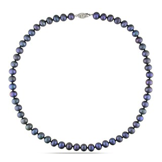 M by Miadora Sterling Silver Black Cultured Freshwater Pearl Necklace (7-8 mm)