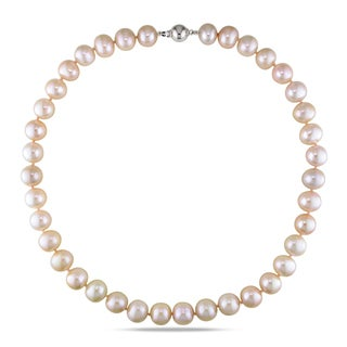 Miadora Sterling Silver Pink Cultured Freshwater Pearl Necklace (11-12 mm)
