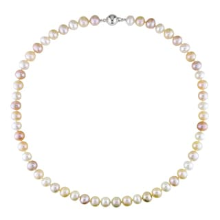 M by Miadora Sterling Silver White and Pink Cultured Freshwater Pearl Necklace (8-9 mm)