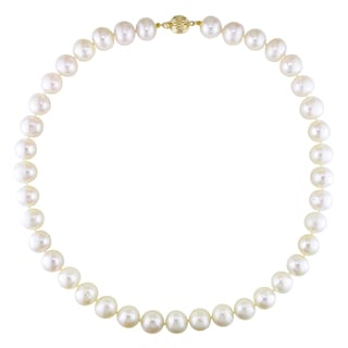 Miadora 14k Yellow Gold White Freshwater Pearl Necklace (11-11.5 mm)