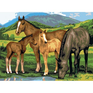 """Junior Large Paint By Number Kit 15-1/4"""" X 11-1/4""""-Horse & Foals"""