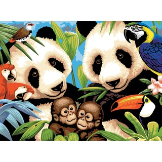 """Junior Large Paint By Number Kit 15-1/4"""" X 11-1/4""""-Endangered Animals"""
