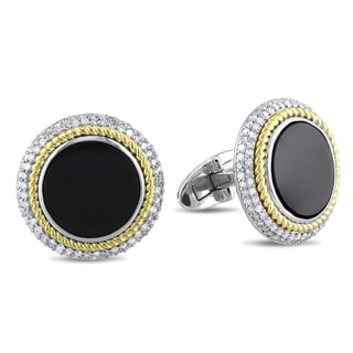 Miadora 14k Gold Onyx and 7/8ct TDW Diamond Cuff Links (G-H, SI1-SI2)