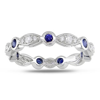 Miadora 18k White Gold Sapphire and 1/4ct TDW Diamond Ring (G-H, SI2)