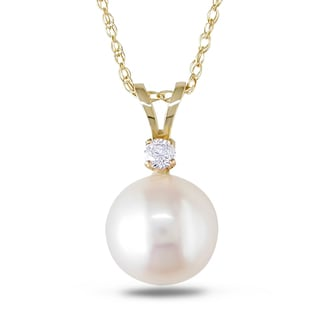 Miadora 14k Yellow Gold Cultured Freshwater Pearl and Diamond Necklace (8-8.5 mm)