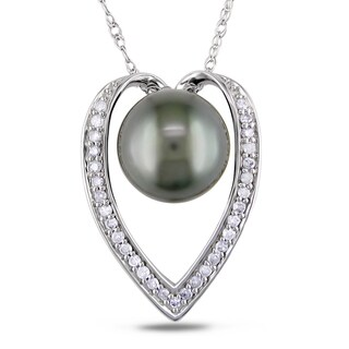 Miadora 14k Gold Tahitian Pearl and 1/6ct TDW Diamond Necklace (H-I, I2-I3) (9-9.5 mm)