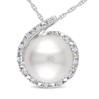Miadora 10k White Gold Cultured Freshwater Pearl and Diamond Necklace (8-8.5 mm)