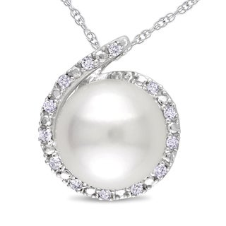 Miadora 10k White Gold FW Pearl and Diamond Necklace (8-8.5 mm)