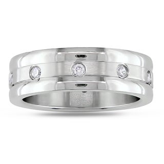 M by Miadora Stainless Steel Round Cubic Zirconia Band