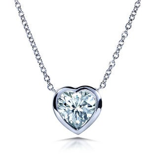 Annello 14k White Gold Heart-cut Moissanite Solitaire Bezel Necklace