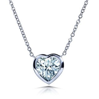 Annello 14k White Gold Heart-cut Moissanite Solitaire Bezel Necklace