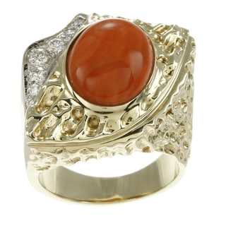 14k Yellow Gold Coral and 1/3ct TDW Diamond Estate Ring (G-H, SI1-SI2)