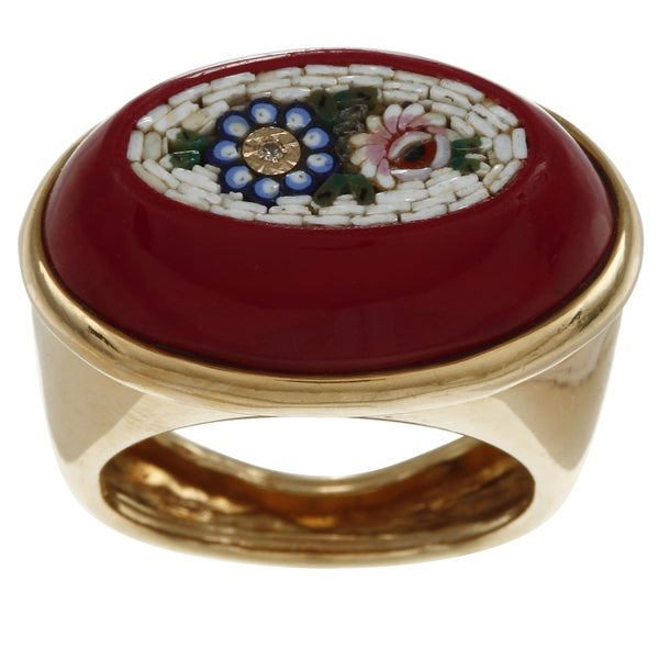 Pre-owned 18k Yellow Gold Floral Enamel Mosaic Estate Cocktail Ring