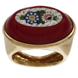 18k Yellow Gold Floral Enamel Mosaic Estate Cocktail Ring