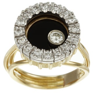 18k Gold Onyx and 3/4ct TDW Floating Diamond Estate Ring (I-J, SI1-SI2)
